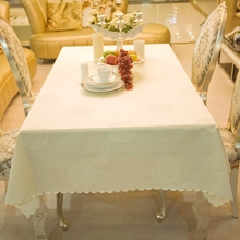 Heavy European Beige Rich Flower Jacquard Rectangle Square Tablecloth Cover  Hotel Dining Small Table Cloths For Sale