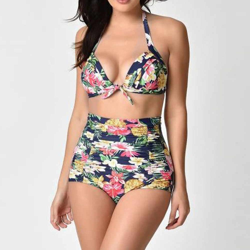 Ms. Print Sexy Two-Piece Beach Bikini Mid Waist Swimsuit Plus Size Bikini Sexy Swimwear Women BiquiniSwimsuit #C