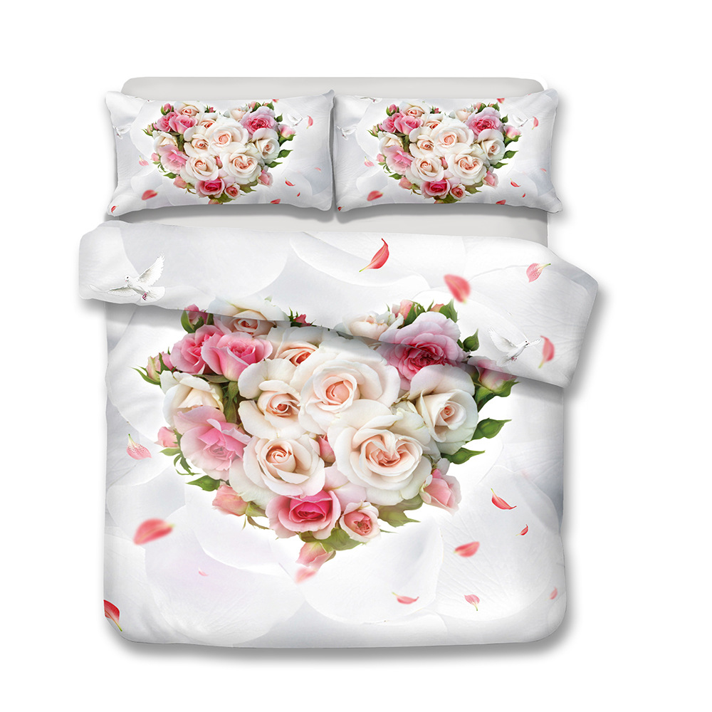 New Scenic Rose 3D Sanding Flower Pattern Bedding Set Quilt Case Bed Sheets Pillow Case New Scenic Rose 3D Sanding Flower Pattern Bedding Set Quilt Case Bed Sheets Pillow Case