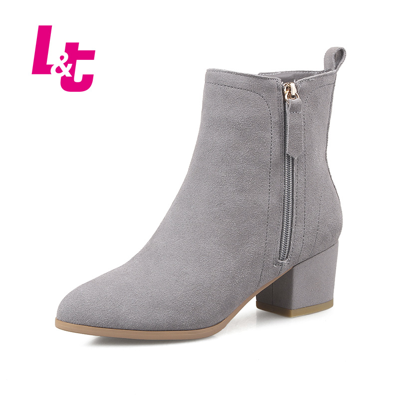 L&T women suede ankle boots genuine leather rubber medium heel chelsea boots runway zipper pointed toe platform ladies shoes women black shoes sheepskin genuine leather women shoes suede pointed toe rivet solid color buckle ladies causal ankle boots
