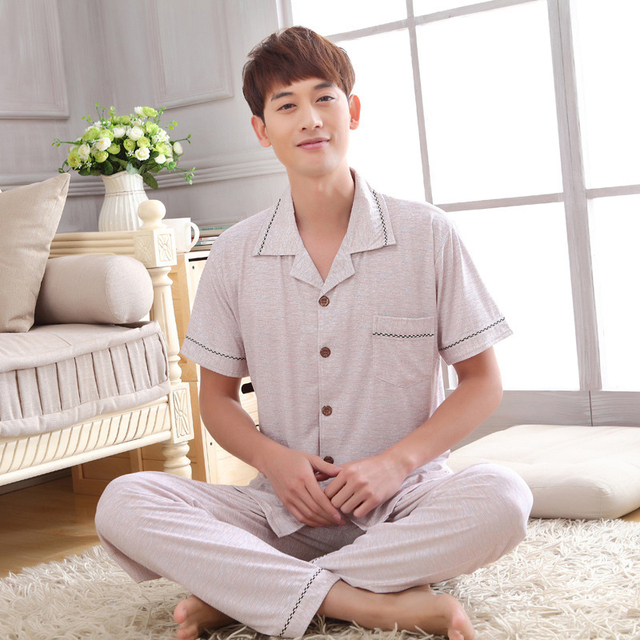 BXMAN 2017 Spring&Summer Mens pyjama Modal Plus size Cardigan Brief style Men pijama hombre fashion men nightwear with free ship