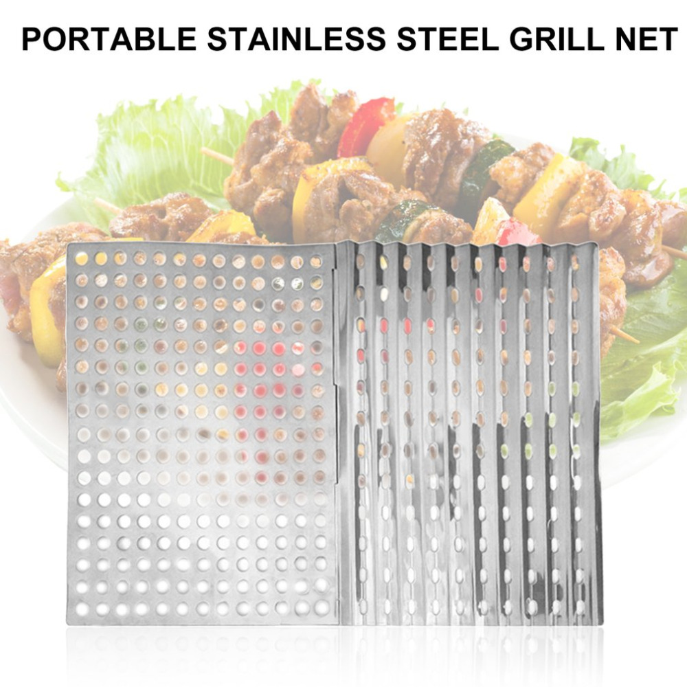 Outdoor Portable Stainless Steel Foldable Fast Heating Ultra Light Mesh Barbecue Grilling Picnic Cooking Grid Tools 30*23cm