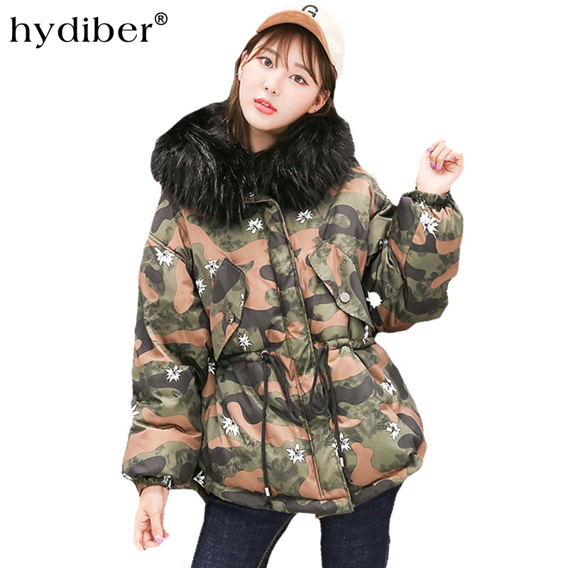 HYDIBER New product winter women long sleeve jacket thickened hat short line cotton suit rope loose padded jacket hairy collar футболка wearcraft premium printio мади