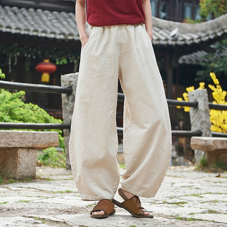 Y Summer Mens Cotton Hemp Loose Pants Ethnic China Style Trousers Casual Comfy