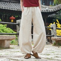 2019 Spring Summer Casual Cotton Linen Trouser Elastic Waist Women Pants Solid Color Chinese Style Harem Pants