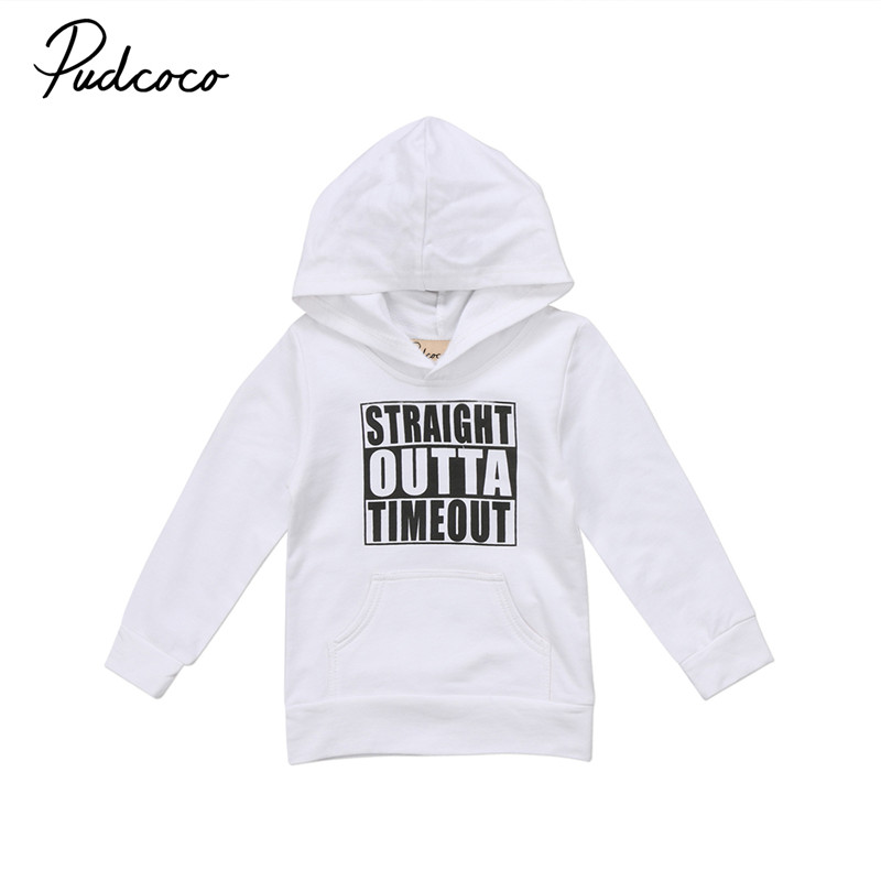 c1e92e64a pudcoco 0-5Y baby kids boy girl clothes hoodie cotton Long Sleeve black  white bebe Boys Girls Hooded Tops pullover Sweatshirt
