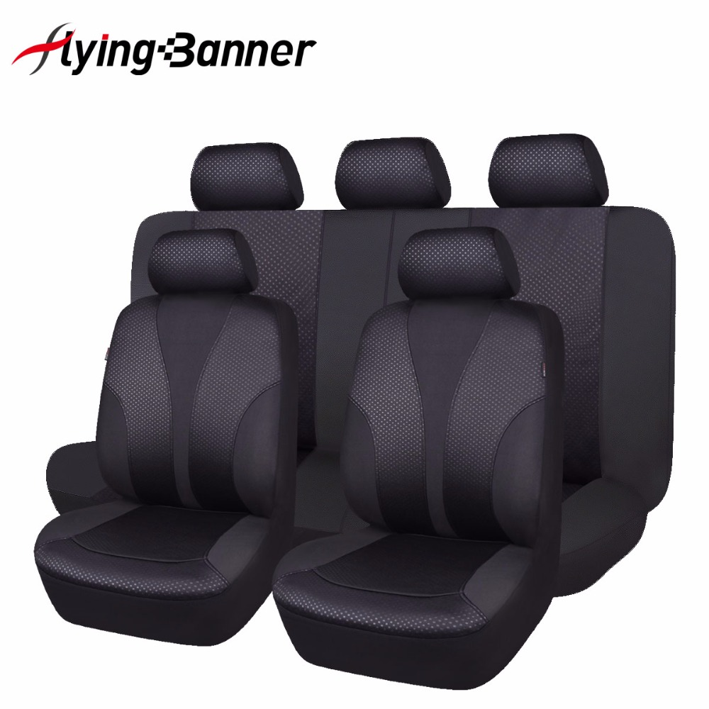 2017 New 11 PCS Black Car Seat Cover Universal Front Seat Bench Automobiles..