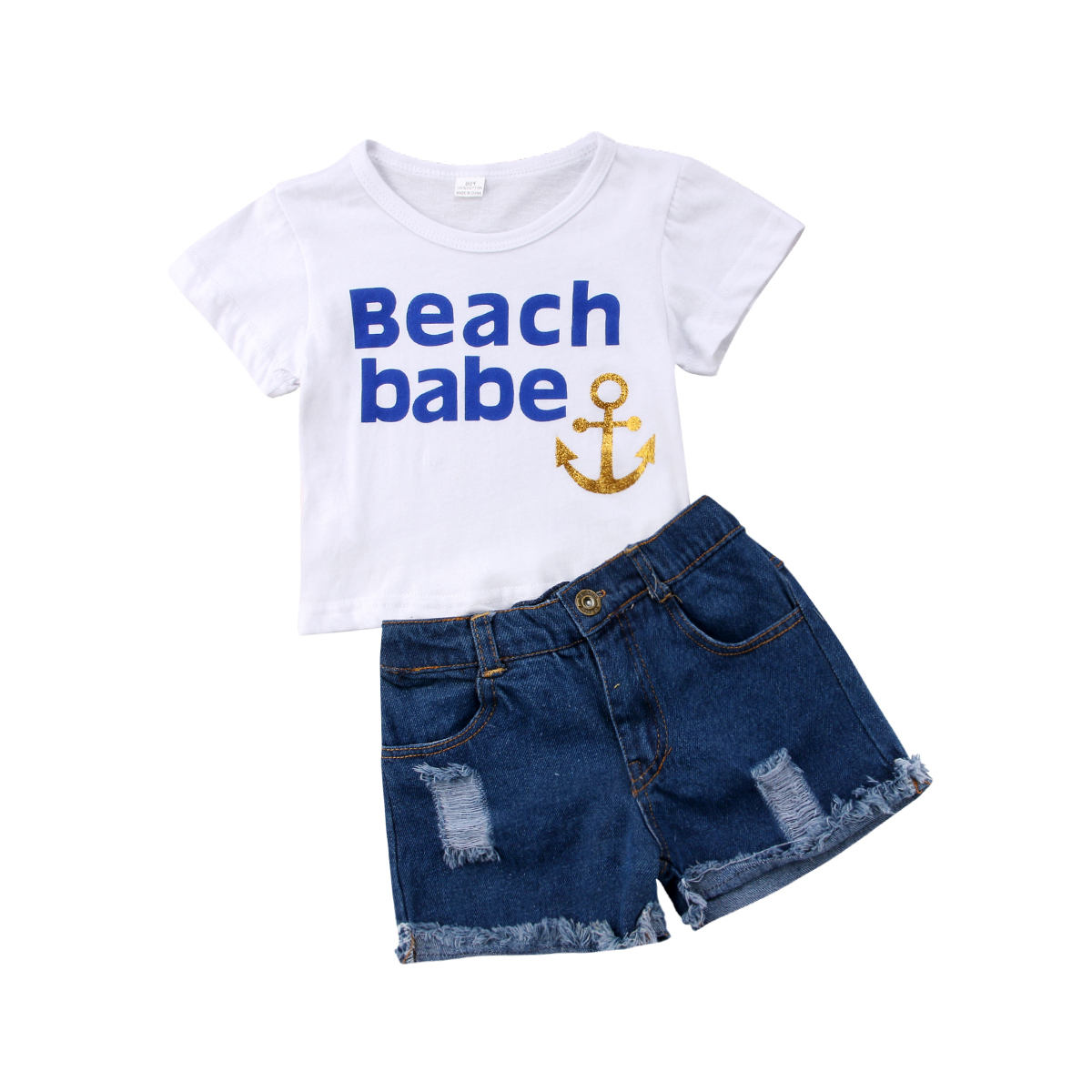 >Kids Baby Girls Set <font><b>White</b></font> Tee <font><b>Jeans</b></font> Shorts <font><b>Outfits</b></font> Suit Anchor Tops Letter T-Shirt+Denim Shorts Clothes