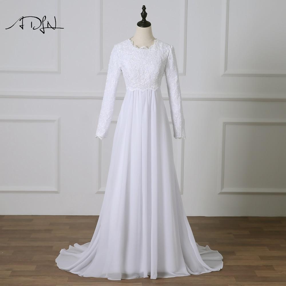 ADLN Cheap Arabic Muslim Wedding Dresses O-neck Long Sleeve Sweep Train Bridal Gown Modest Chiffon Bride Dress