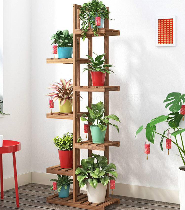 Flower Shelf Multi-storey Indoor Special Balcony Fleshy Green Flower Pot Rack Solid Wood Living Room Simple Floor Rack