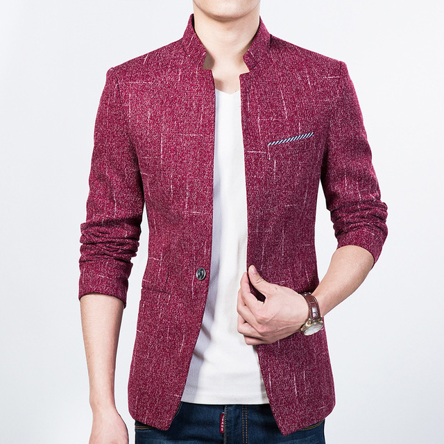 3ea92fce1d422 2019 New Mens Blazer Spring Fashion stand collar Suits For Men Top Quality  Slim Fit Jacket Outwear Coat Costume Homme Size 4XL