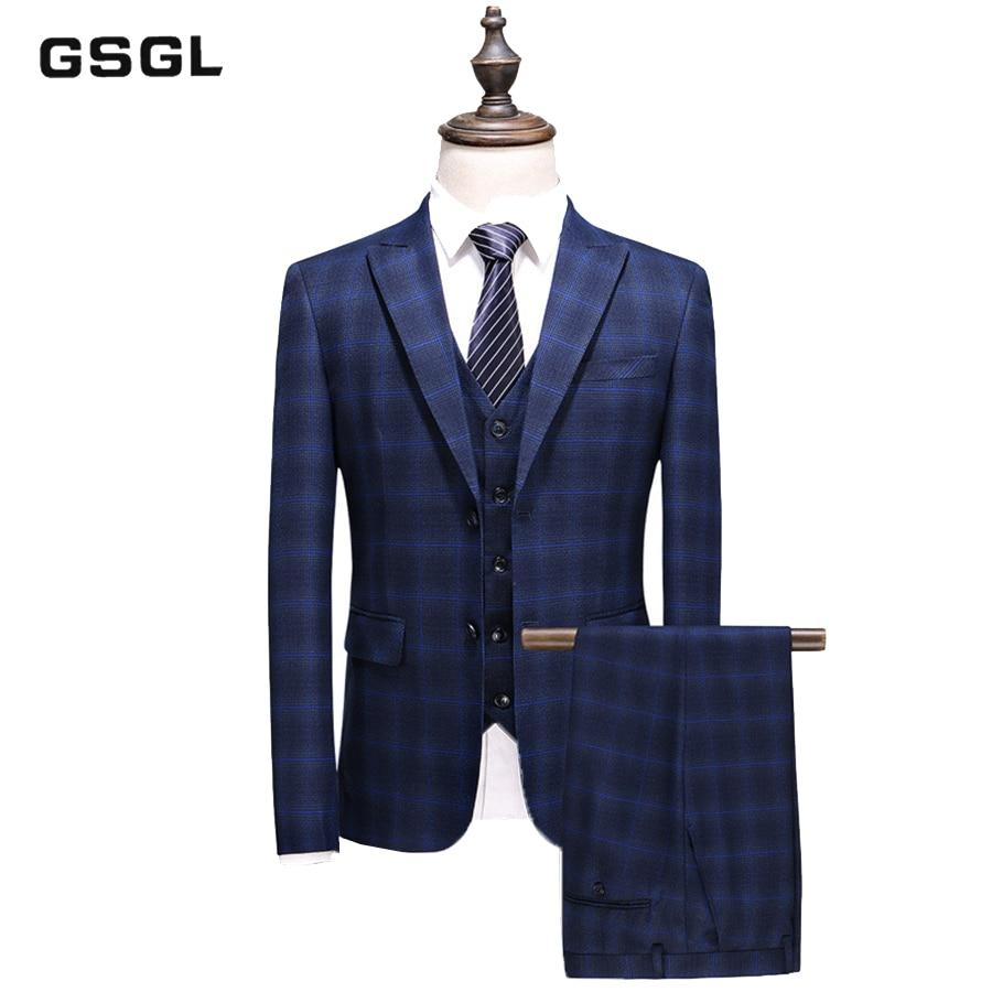 Men Plaid Suit Slim Fit Business Casual Dress Suit 3 Pieces Set Groom Wedding Suit High Quality Men's Suits With Pants