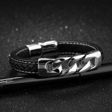 Модные мужские черные кожаные браслеты из нержавеющей стали