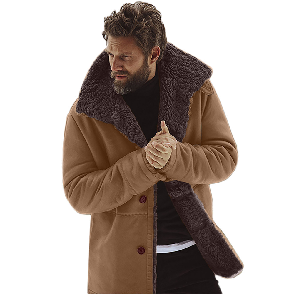 FeiTong Winter Jacket Men   Parka   Sheepskin Warm Wool Lined Mountain Faux Lamb s Men Clothing 2018 Jacket Coat For Male N19