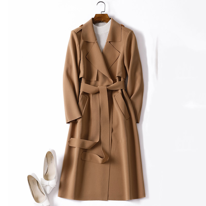 Adjustable waist sashes trench coat women turn down collar slim thin outerwear 2019 autumn winter