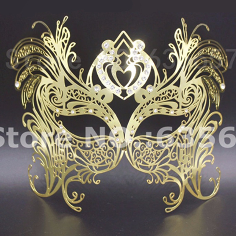 Laser Cut Gold Platinum: Carnaval Silver Gold Phantom Laser Cut Venetian Masks