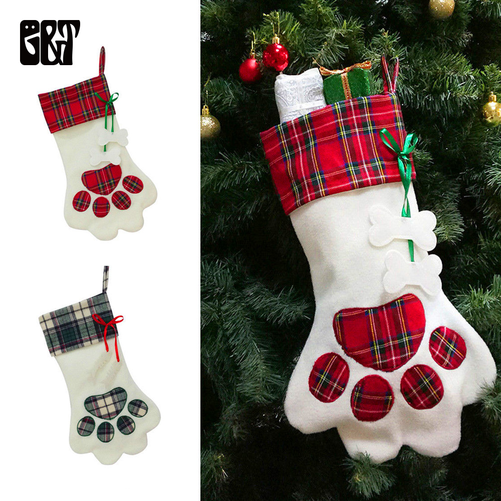 pet christmas stocking dog cat paw large plaid christmas gift bag pet toe sock xmas tree ornaments stocking new year gift holder - Large Christmas Gift Bags
