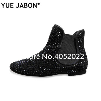 Super Gorgeous Women Ankle Boots Stretch Black Luxury 2019 Fall Slip On Ankle Rhinestone Boots Sneakers Flat Women Casual Shoes