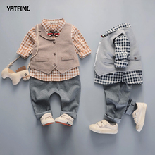 YATFIML fashion baby boys kids blazers boy suit for weddings prom formal lattice dress wedding boy suits Birthday Party Gift