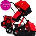Promoção!!! carrinho de bebê do assento de carro e alcofa 3 peças/set multi-função portátil dobrável carrinho de bebê suspensão paisagem