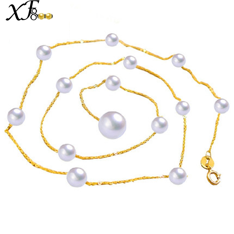 XF800 18K Yellow Gold Pearl Necklace Jewelry Real Au750 Gold Chain Natural Freshwater Pearls Necklace Pendant White Round XL1001 free shipping imitation pearls chain flatback resin material half pearls chain many styles to choose one roll per lot