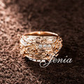 Jenia Vintage Rose Gold Plated Rhinestone Flower Finger Ring For Women Party Gifts (XR192)