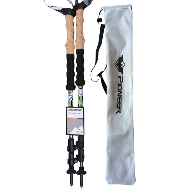 PIONEER Carbon Fiber Pole Hiking Pole 3 Section Hiking Walking Cane Trekking Pole Stick