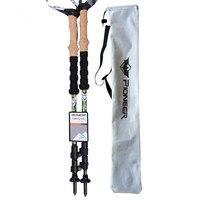 PIOMEER Novo 3 Seção de Alta Dureza 100% Fibra De Carbono Cross Country Caminhadas Bengala Trekking Pole Alpenstock Vara de Choque