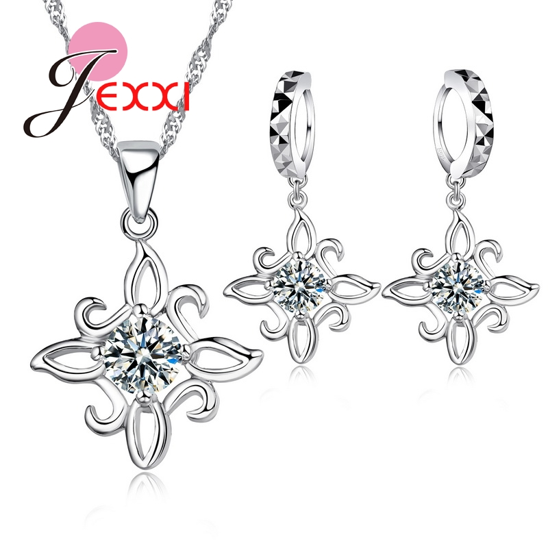 Women Exaggerated Party Jewelry Sets Crystal Earrings&Necklace 925 Sterling Silver Rhombus Flowers Pendant Sets For Sale