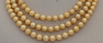 "bjc 000594 longest 50"" Genuine Natural 10mm Golden Round pearl Necklace"