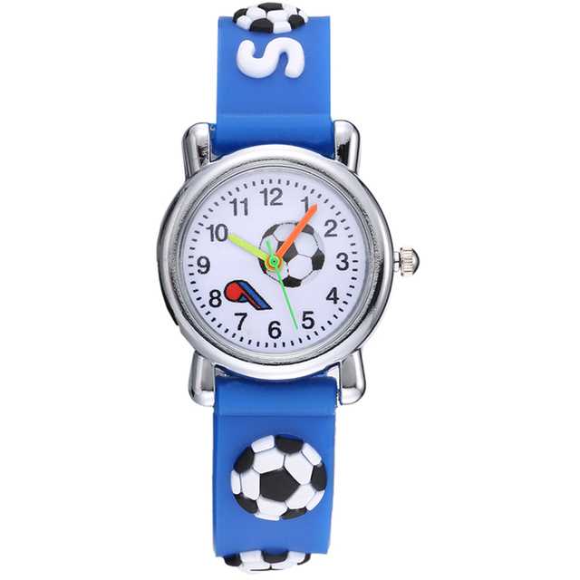 Lovely 3D Soccer Football Blue Children Watches Silicone Strap Cute Boys Girls Q