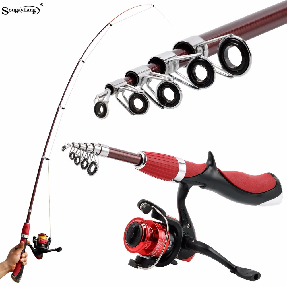 Sougayilang Carbon Fiber Portable Fishing Rod With Fishing Reel Combo Spinning Fishing Reel Ice Rods Kit Fishing Tackle De Pesca