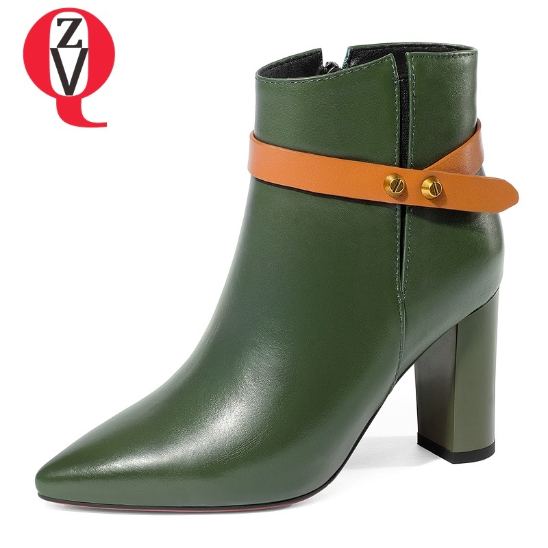 ZVQ 2018 new women ankle boots mixed colors genuine leather pointed toe super high square heel zipper rivet big size lady shoes рубашка tommy hilfiger tommy hilfiger to263embwer5