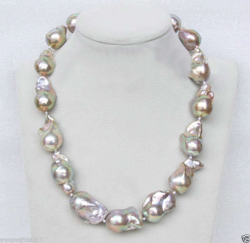 Selling jewerly >South sea Genuine 16mm Lavender-white Baroque pearls necklace 18>free shipping