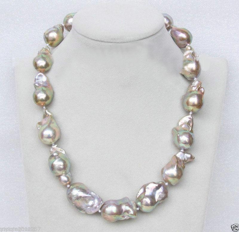 Vente bijoux> mer du sud véritable 16mm lavande-blanc Baroque collier de perles 18