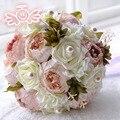 Peônias Artificiais do vintage Subiu Fita Bouquet buque de Noiva noiva branco Rosa Flores De Seda buquê de Casamento Da Dama De Honra de mariage