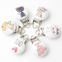 5pcs/lot Wooden Baby Children Pacifier Holder Clips Infant Cute Cats Nipple Clasps For Baby Product Accessories(China)
