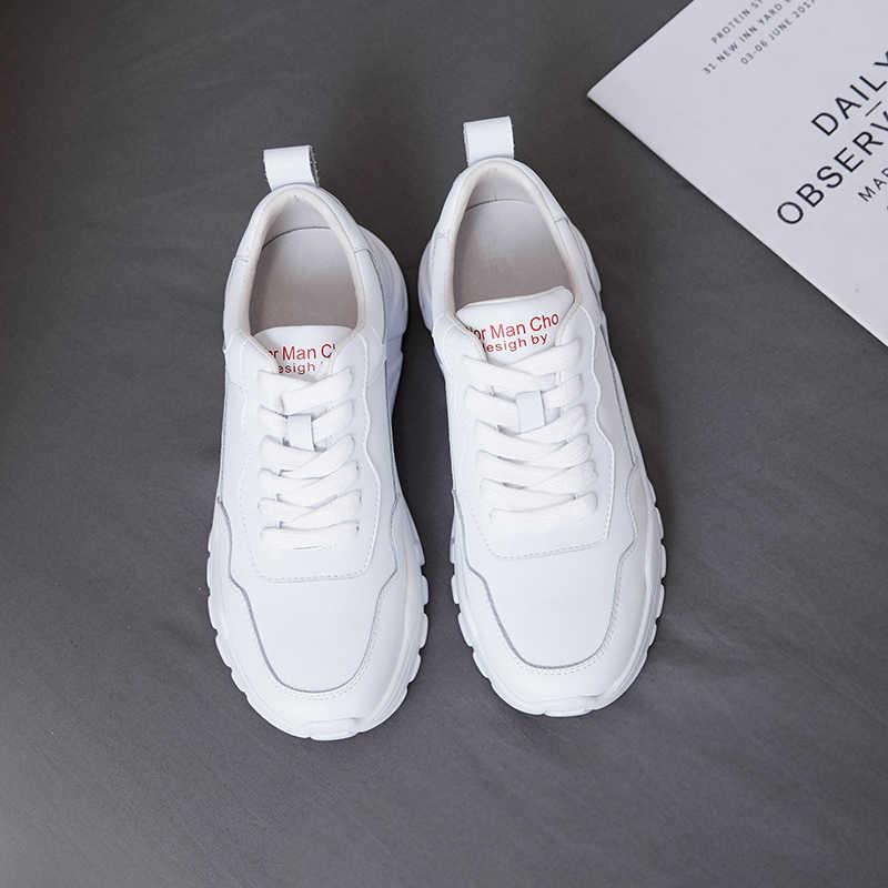 Schoenen Vrouw 2019 Sneakers Vrouwen Lederen Witte Casual Schoenen 5 cm