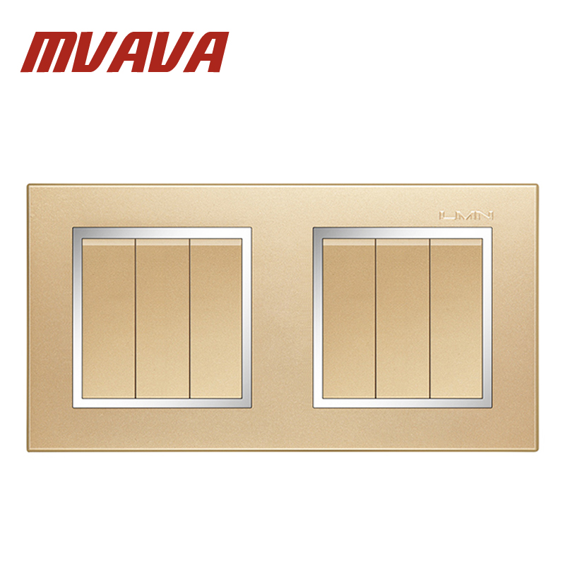 цены MVAVA Free Shipping Dual 6 Gang Electrical Push Button Light Wall Switch Luxury Decorative Chromed Frame Champagne Gold PC Panel