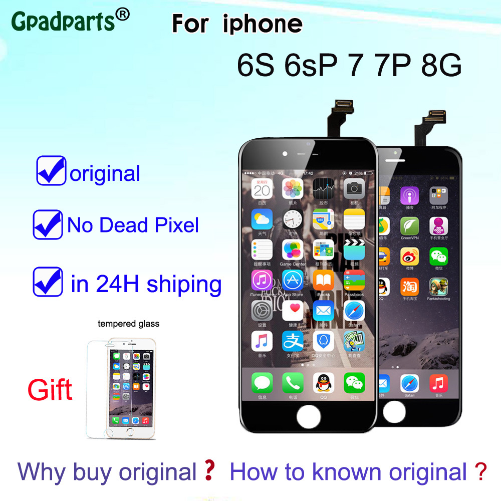 100% LCD d'origine pour iPhone 6 s 6sP 7 7 p 8 8 plus L'affichage D'affichage À CRISTAUX LIQUIDES + écran tactile numériseur l'assemblée 3D Écran Tactile avec logo