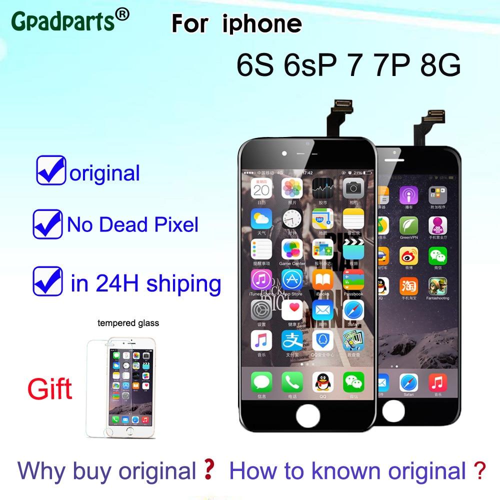 100% LCD d'origine pour iPhone 6 S 6sP 7 7plus 8 écran LCD + écran tactile numériseur assemblée 3D écran tactile avec logo