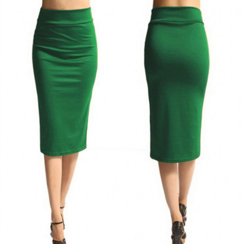 Hot Sale Women Pencil Skirt New Ladies Office Stretch Bodycon Midi Skirt Female High Waist Mid-Calf Jersey Skirts Puls Size XL