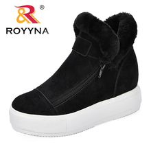 ROYYNA New Arrival Zipper Winter Boots Women Comfortable Fashion Ankle Outdoor Snow Feminimo Plush Shoes Trendy