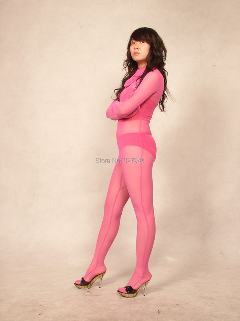 Pink Appear Spun Silk Lycra Spandex Zentai Sexy Suit Full Body Tights Costumes Super Smooth