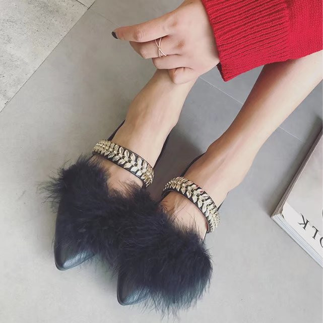 Fashion Women Shoes Woman Flats crystal  luxury real Fur shoes Casual Comfortable pointed toe Women Flat Shoe New Flats ALFF670 new listing pointed toe women flats high quality soft leather ladies fashion fashionable comfortable bowknot flat shoes woman