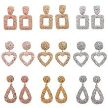 Girlgo 2019 Za Geometric Metal Square Dangle Earrings For Women Vintage Punk Heart Gold Drop Earrings Maxi Statement Jewelry