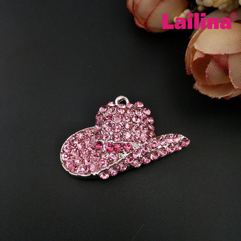 50pcs/lot Cute Pink Hat Charms Crystal Rhinestone Ladies Hat Pendants Silver Tone Alloy Metal DIY Jewelry Making Wholesale