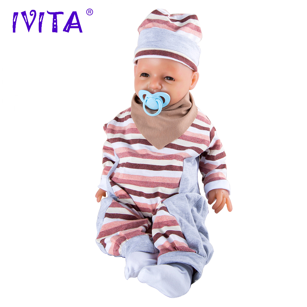 Ivita 4000g 20inch Lifelike Full Body Silicone Reborn Baby Doll Girl High Resolution Dummies Pacifier Product