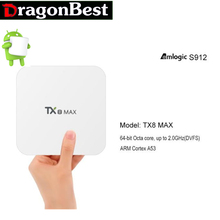 Android TV BOX Amlogic S912 TX8 Max Android6.0 3G 16G Bluetooth BT4.1 Amlogic S912 Octa core ARM Cortex-A53 CPU up to 2GHz