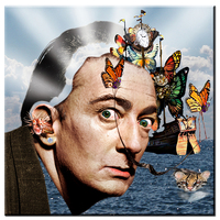 Xdr591 Salvador Dali Black White Creative Portraits Poster Painting Print On Canvas Wall Pictures For Living